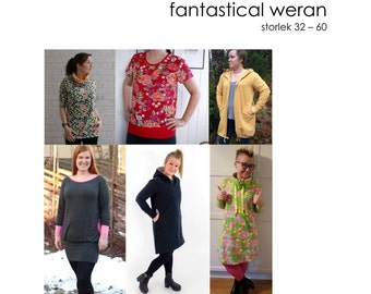 PDF pattern. Fantastical Weran. Top, tunic, dress, sweatshirt, hoodie, cowl-neck, cardigan. Size 32-60