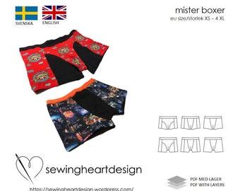 PDF pattern. Mister Boxer underwear. Size XS - 4XL