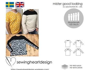 PDF pattern. Mister Good Looking Tee. Mens tshirt. Size XS-6XL