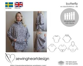 PDF pattern. Butterfly. Top, cardigan, poncho, cape. EU Size XS-4XL
