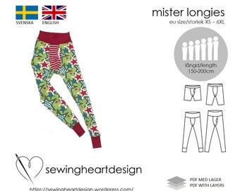 PDF pattern. Mister Longies underwear, long johns. Size XS - 6XL