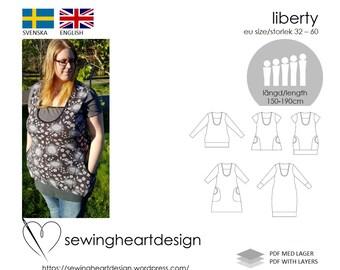 PDF pattern. Liberty Tunic/Dress incl pattern for breastfeeding. Size 32-60