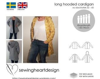 PDF pattern. Long Hooded Cardigan. Size 32-60