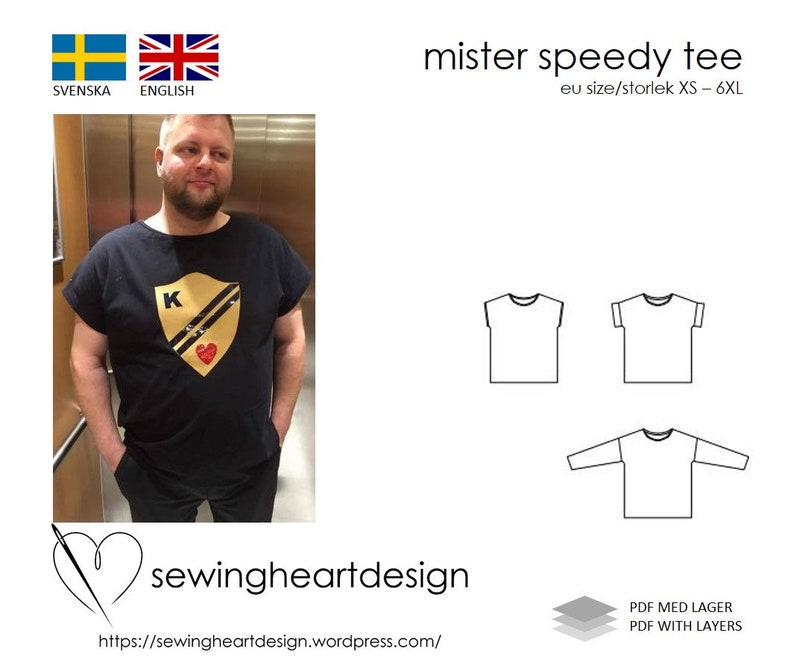 PDF pattern. Mister Speedy Tee. Mens tshirt. Size XS-6XL image 0
