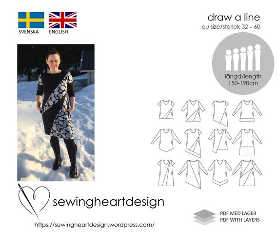 Pdf Pattern Draw A Line Top Tunic Dress Size 32 60 Etsy