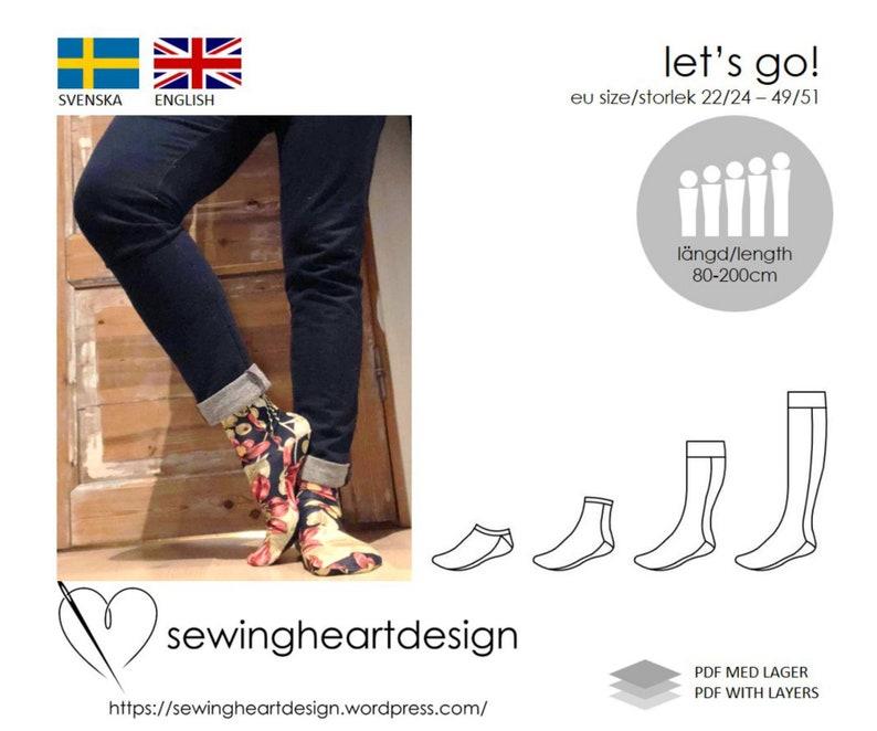 7fe632b54bb8 PDF pattern. Let s Go socks. Size 22 24 49 51