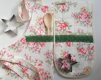 Apron Oven Mitt Peg Bag Set Handmade Cath Kidston Gift Kitchen Textiles  Cook Bake Motheru0027s Day Home Decor Birthday Gifys For Her Daughter