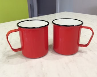 FINEL Finland KAJ FRANCK Red enamel mugs