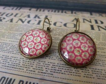 Pink mandala cabochon earrings