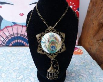 Button necklace Peacock fabric