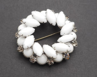 Vintage White Opaque Glass & Rhinestone Layered Circle Brooch/Pin