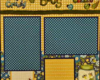 Creepy Crawly Bugs 12x12 Premade Scrapbook Page Boys Outdoors Play