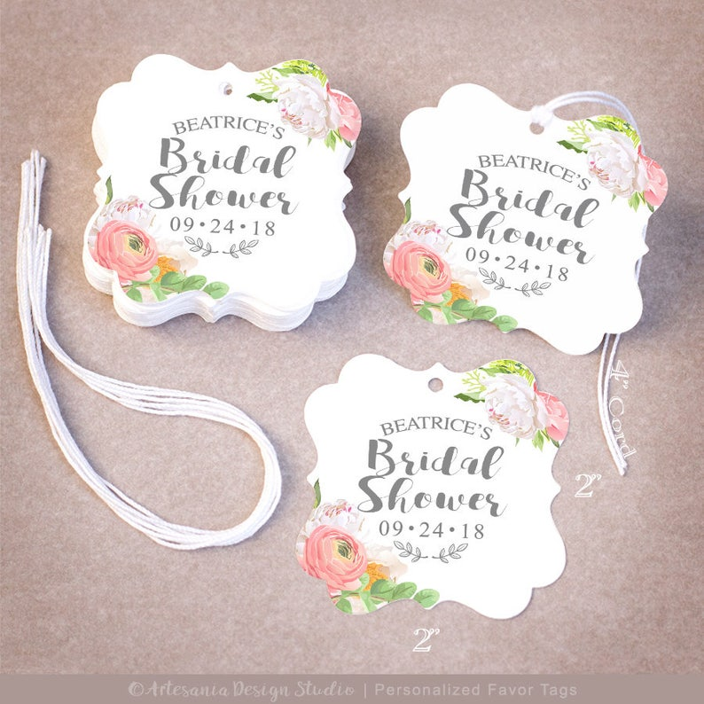 e9a34f5a2850 THANK YOU Bridal Shower Tags Personalized 255075100200