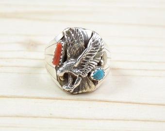 Bague homme,Navajo,taille 63,phalange,argent 925,aigle,turquoise,corail