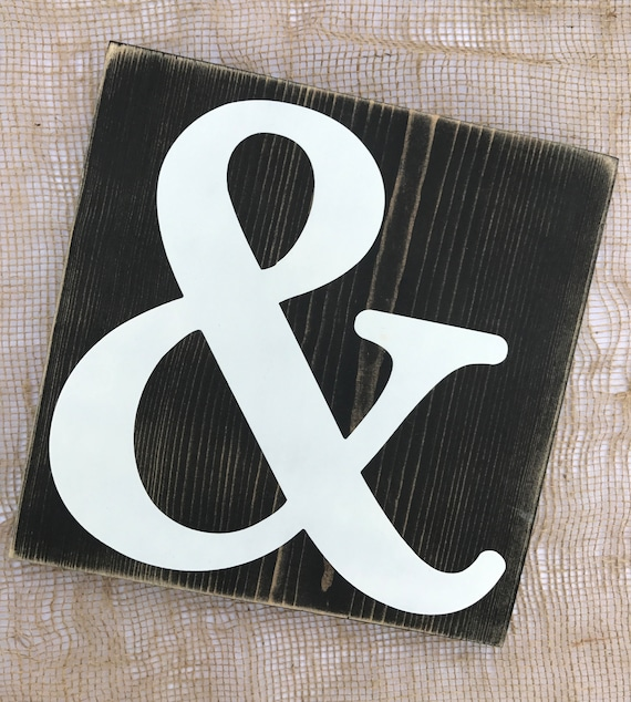 Ampersand Symbol Weathered Sign Large Black And White And Etsy