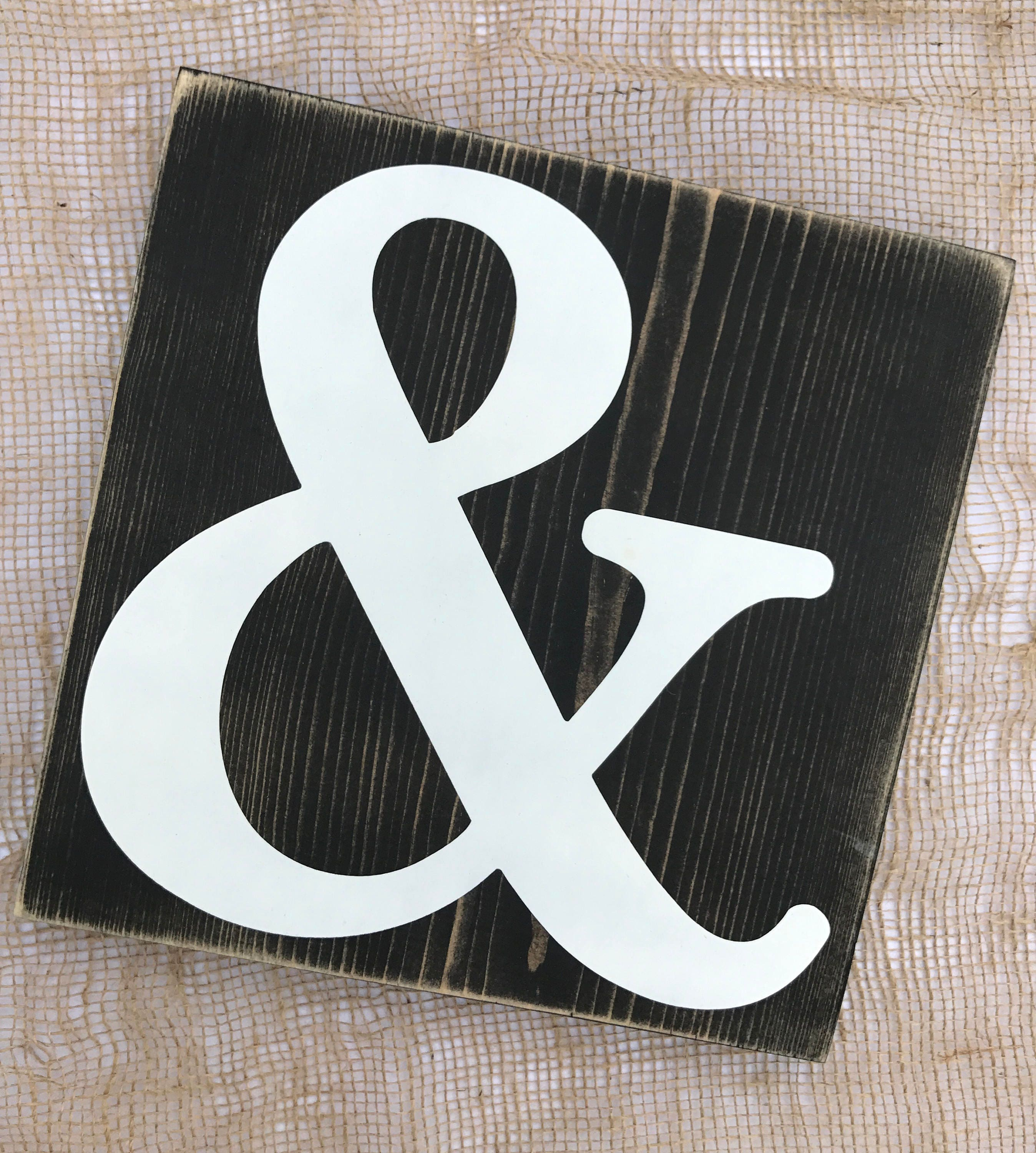 Ampersand symbol weathered sign // Large Black and White And Symbol sign //  Modern farmhouse decor // Rustic love sign // Bedroom Decor