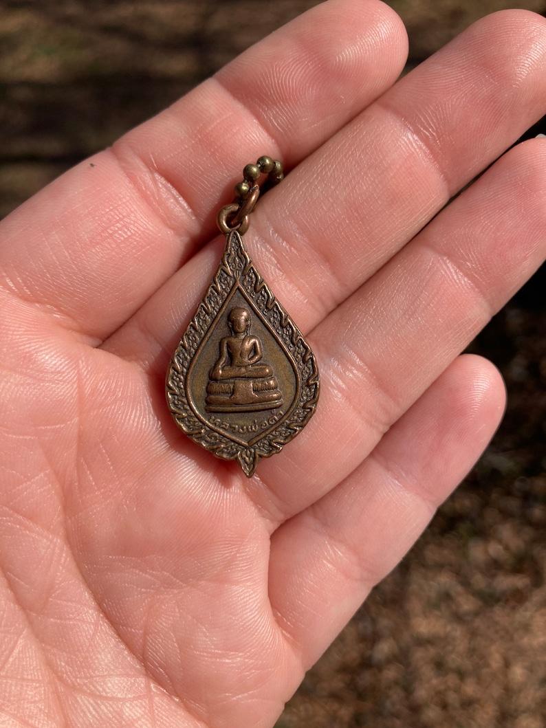 Copper Bronze Buddha Tear Drop Shaped Double Sided Charm on Brass Ball ChainUnisexGreat for LayeringBuddha NecklaceGood LuckAbundance