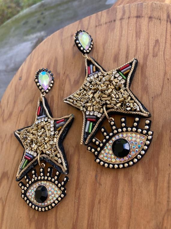 GORGEOUS Beaded Evil Eye Pierced Earrings/Protecti