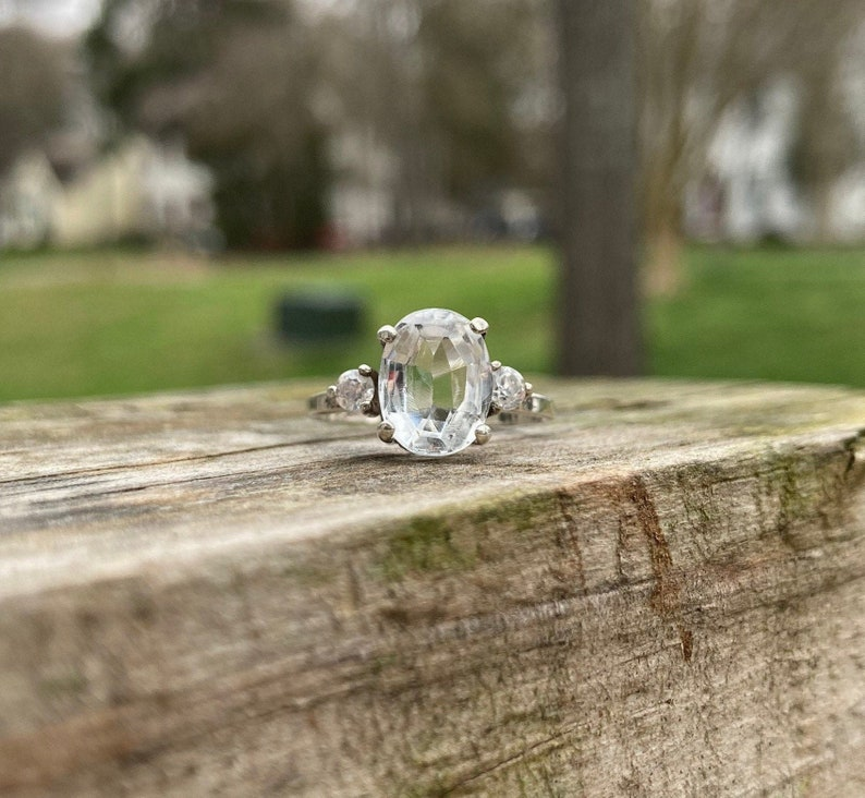 Gorgeous 925 Sterling Silver Ring with Old Cut Oval Clear Quartz Solitaire and Round Clear Quartz Side StonesVintage QuartzVintage Bride