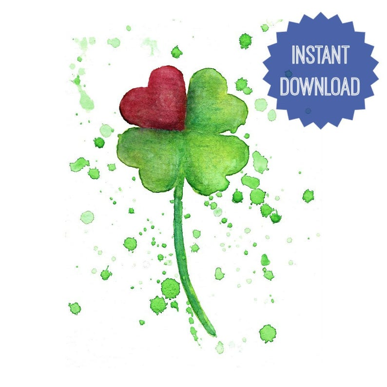 image relating to Printable Four Leaf Clover identify Printable 4 Leaf Clover, Watercolor Print, 4 Leaf Clover Artwork, Anniversary Present, Shower Reward, Wedding ceremony Present, Nursery Decor, Dwelling Wall Artwork
