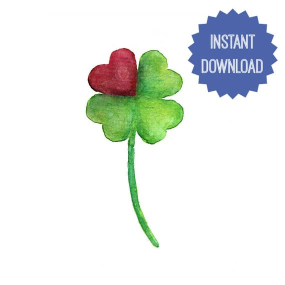 photograph relating to 4 Leaf Clover Printable titled 4 Leaf Clover Printable Watercolor Portray Clover Center Artwork Print Electronic 4 Leaf Clover Artwork Exertion Wall Residence Decor Childrens Place Nursery