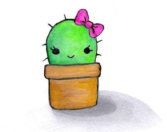 CLEARANCE < Kawaii Cactus Watercolor Print > CLEARANCE