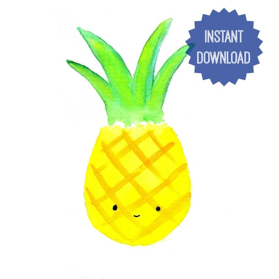image regarding Printable Pineapple identify Printable Pineapple, Watercolor Print, Kawaii Pineapple, Wall Decor, Nursery Wall Artwork, Small children Area Decor, Quick Obtain, Electronic Pineapple