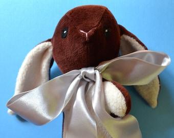 Velour Rabbit, stuffed rabbit, velour, satin ribbon, embroidery, brown, organic sherpa, gift, child, decoration, heirloom, rabbit