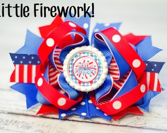 4th of July Hair Clip,  4th of July hair bow, Baby Headband, Photo Prop, Photography Prop / Little Firework Bottle Cap Hair Clip