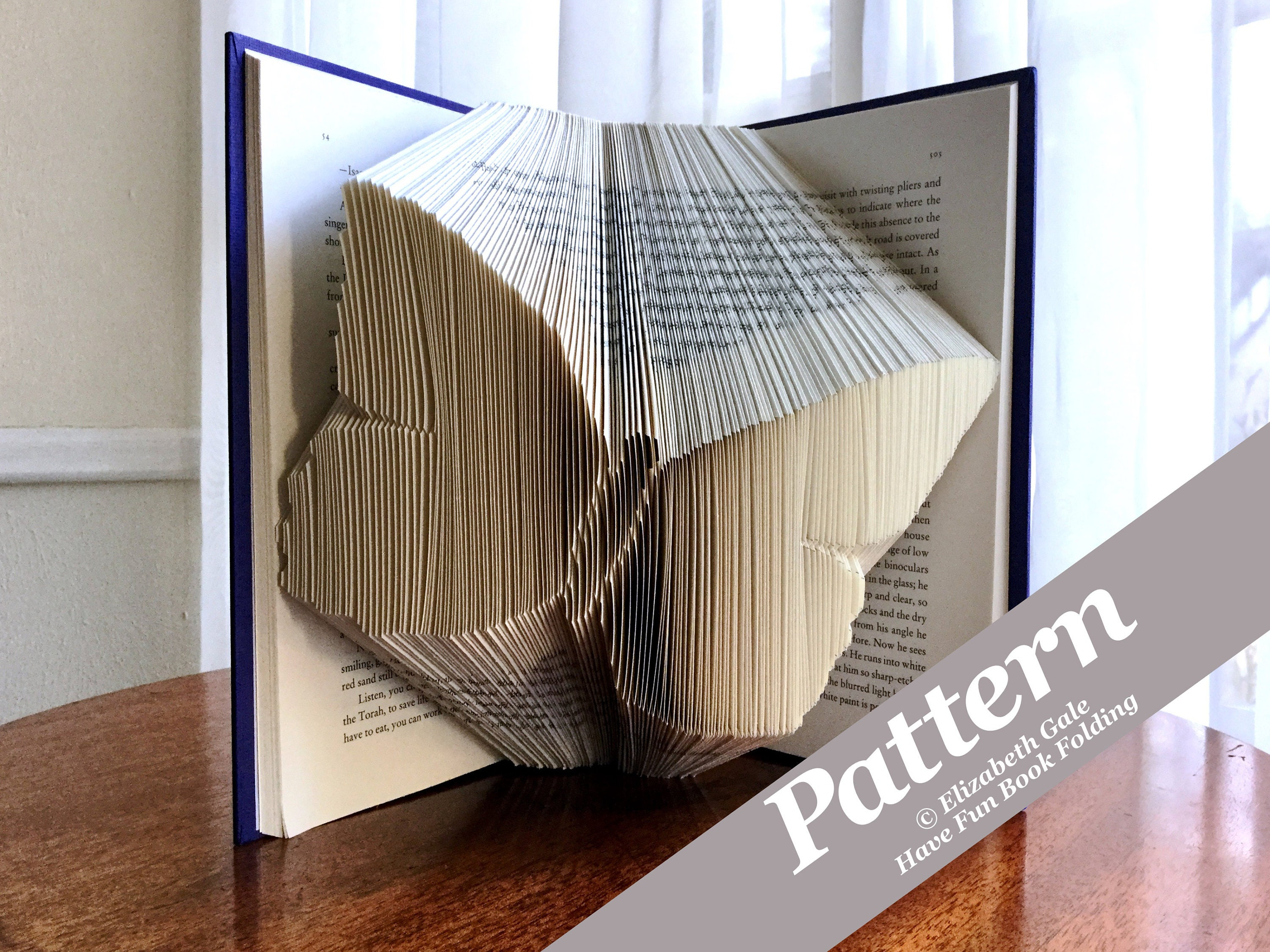 Folded book art Book folding pattern colleges UCLA Measure and mark Most clear and easiest pattern on Etsy Beginners 207 folds