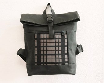 Gray/Black Plaid Waxed Canvas Backpack