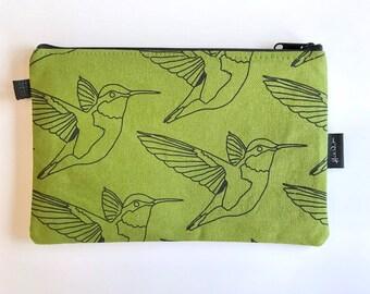 """8.5"""" Olive Green Hummingbird Zipper Pouch - Zipper Wallet - Screen Printed - Bird Print"""