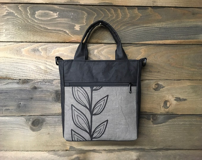 Gray Continuous Leaf Waxed Canvas Tote Bag