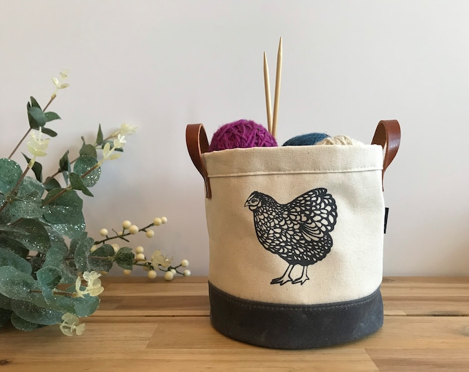 Ready to Ship - Chicken Motif Fabric Bin - Screen Printed Fabric Bucket - Gift