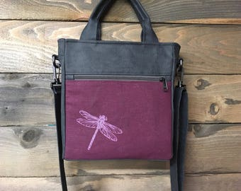Burgundy Dragonfly Waxed Canvas Tote Bag