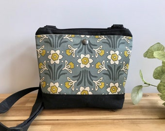 Waxed Canvas Purse - Daffodil Pattern Bag - Cross Body Messenger Purse - Screen Printed Bag - Water Resistant