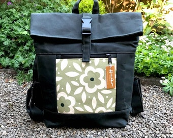 Ready to Ship - Waxed Canvas Backpack - Canvas Bag - Backpack purse - Screen Printed - Green Floral Print - Water Resistant Bag