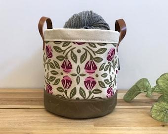 Portland Roses Fabric Bin - June Birth Month - Screen Printed Fabric Bucket - Gift for June
