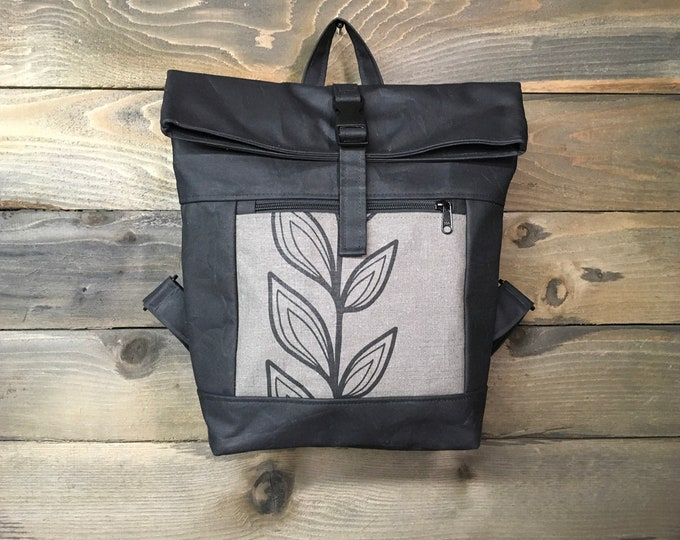 Gray Continuous Flower Waxed Canvas Rolltop Backpack
