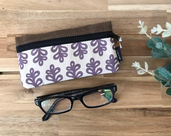 Ready to Ship - Curly Tree Pattern Eyeglass Case - Eyeglass Holder - Screen Printed - Glasses Case