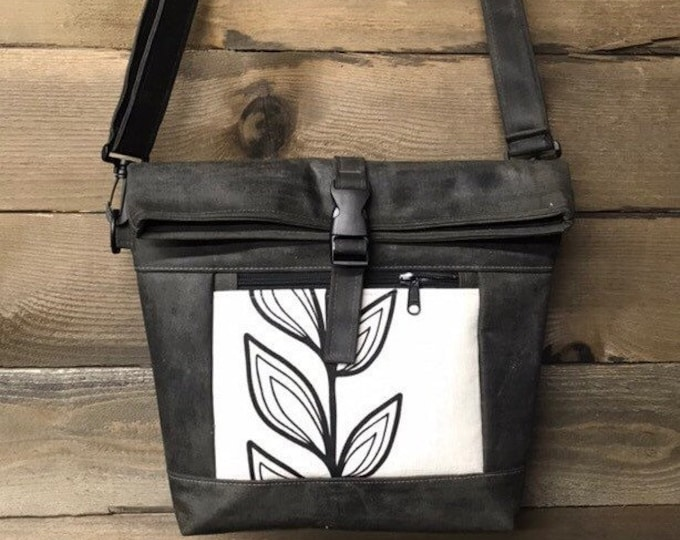 Waxed Canvas Cross Body Rolltop Purse - Messenger Bag - Canvas Bag - Screen Printed - Continuous Leaf Print - Water Resistant