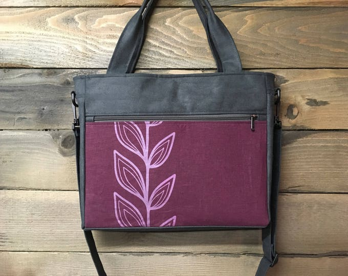 Burgundy Continuous Leaf Extra Large Waxed Canvas Tote Bag