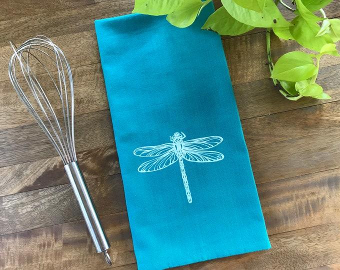 Teal Dragonfly Hand Printed Tea Towel
