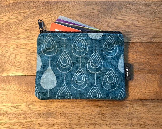 Teal Raindrop Credit Card Zipper Pouch