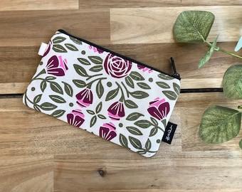 Portland Roses Zipper Pouch - Zipper Wallet - Screen Printed - Floral Pouch - Off White Zipper Pouch