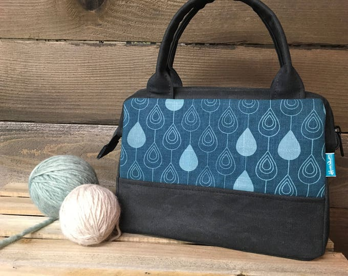Teal Raindrop Waxed Canvas Project Bag / Cosmetic Bag