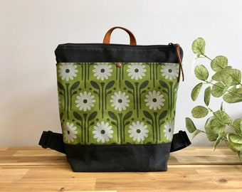 Ready to Ship - Waxed Canvas Backpack - Canvas Bag - Backpack purse - Screen Printed - Daisy Pattern - Water Resistant Bag - April