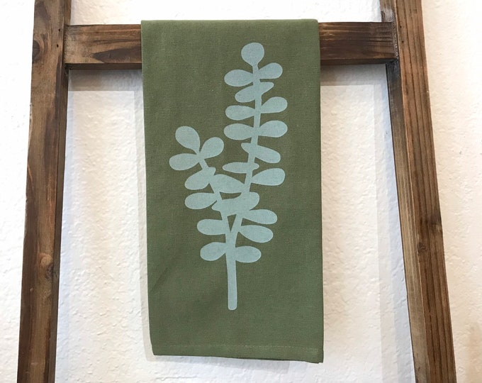 Ready to Ship - Eucalyptus Hand Printed Tea Towel - Cotton - Green - Housewarming Gift - Hand Towel - Plant - Screen Printed