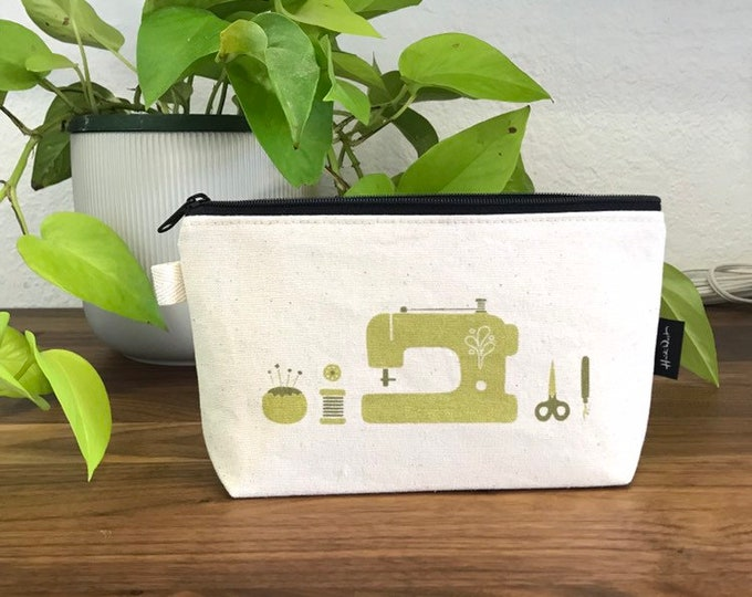 Ready to Ship - Off White Sewing Tools Zipper Pouch - Natural Canvas - Cosmetic Bag - Screen Printed - Hand Printed - Notions Pouch