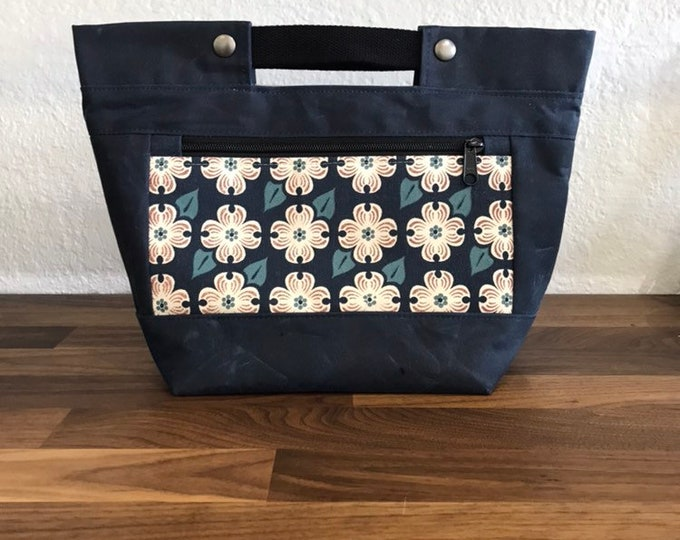 Dogwood Snap Project Bag / Bucket Tote - Waxed Canvas - Screen Printed - Hand Printed - Project Bag - Knitting - Crocheting